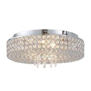 OVE Decors Monaco 5-Light Ceiling Flushmount - Chrome - 13.78-in