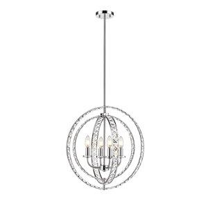 OVE Decors Antila 4-Light Globe Pendant Chandelier Light - Chrome