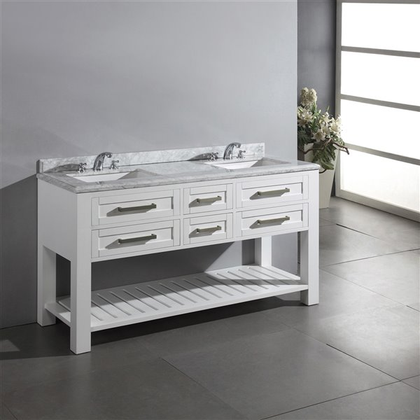 OVE Decors Pedro Double Vanity 4-Drawer with Carrera marble countertop - 60 in. - White