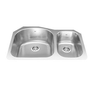 Kindred Reginox Undermount Double Bowl Stainless Steel Kitchen Sink - 31.13-in x 20.25-in