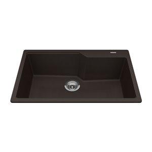 Kindred Granite Drop-in Single Bowl Kitchen Sink - Onyx - 31.69-in x 19.69-in