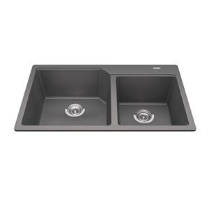 Kindred Granite Drop-in Double Bowl Kitchen Sink - Shadow Grey - 33.88-in x 19.69-in