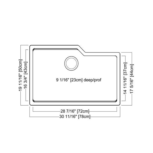 Évier double de Kindred à montage sous plan grnaite gris ombre, 31.69 po x 19.69 po