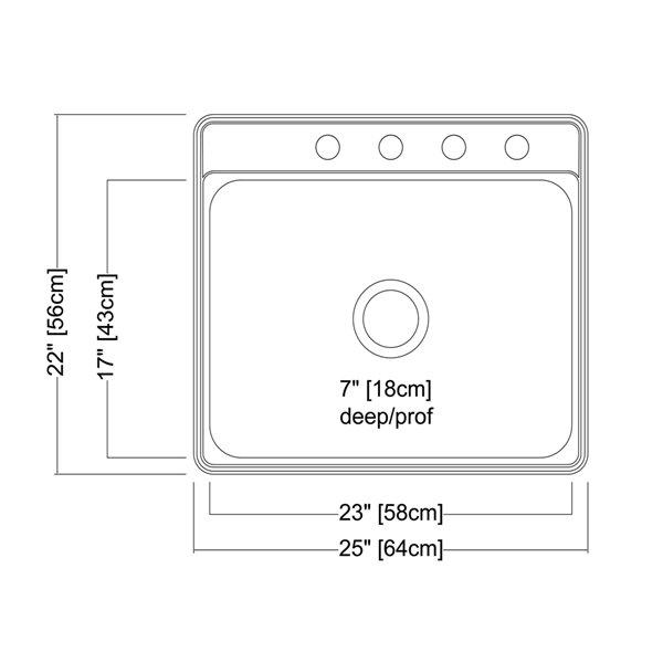 Évier simple Creemore à montage sur plan en acier inoxydable 25 po x 22 po x 7 po