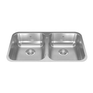 Kindred Reginox Undermount Double Bowl Stainless Steel Kitchen Sink - 30.88-in x 17.75-in