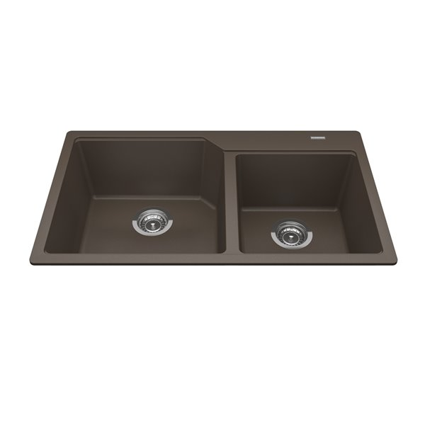 Kindred Granite Drop-in Double Bowl Kitchen Sink - Storm - 33.88-in x 19.69-in