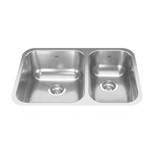Kindred Reginox Undermount Double Bowl Stainless Steel Kitchen Sink - 26.88-in x 17.75-in