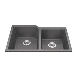 Kindred Granite Undermount Double Bowl Kitchen Sink  - Shadow Grey - 30.69-in x 19.69-in