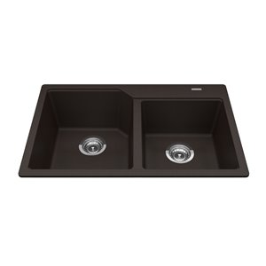 Kindred Granite Drop-in Double Bowl Kitchen Sink  - Mocha - 30.69-in x 19.69-in
