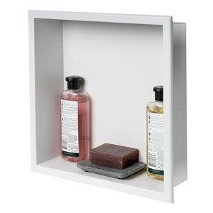 ALFI brand 16-in  x 16-in White Matte Stainless Steel Single Shelf Bath Shower Niche