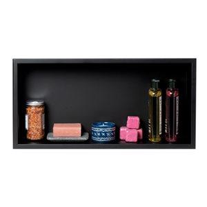ALFI brand 24-in x 12-in Black Matte Stainless Steel Single Shelf Bath Shower Niche