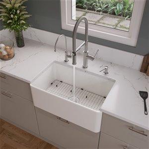 ALFI brand ABF3018 30-in White Thin Wall Single Bowl Fireclay Kitchen Farm Sink