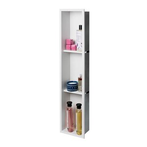 ALFI brand 8-in x 36-in White Matte Stainless Steel Triple Shelf Bath Shower Niche