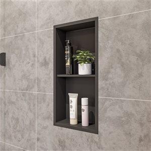 ALFI brand 12-in x 24-in Black Matte Stainless Steel Double Shelf Bath Shower Niche