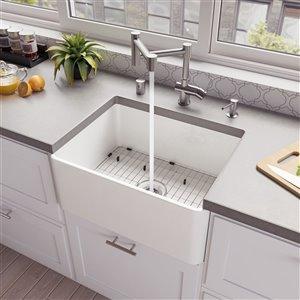 ALFI brand ABF2418 24-in White Thin Wall Single Bowl Fireclay Kitchen Farm Sink