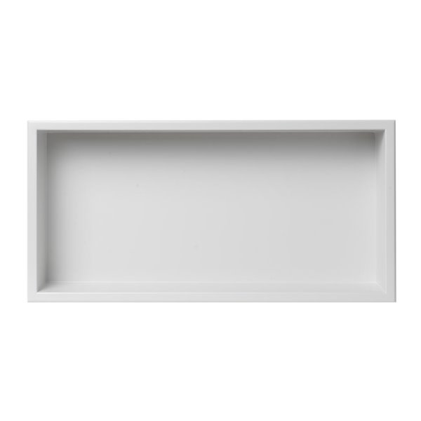 ALFI brand 24-in x 12-in  White Matte Stainless Steel Single Shelf Bath Shower Niche