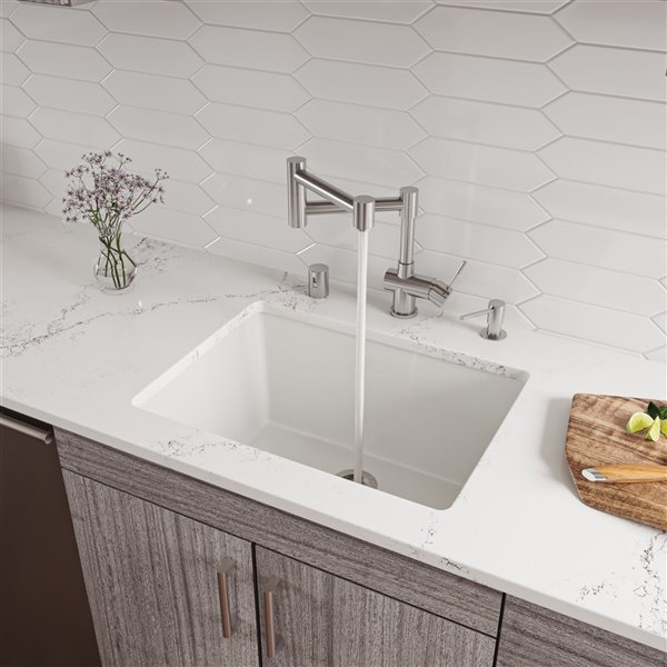 ALFI brand AB2418UD 24-in White Undermount / Drop In Fireclay Kitchen Sink