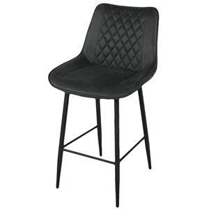 CORCORAN Zen Bar Stools - Black Fabric - Set of 2