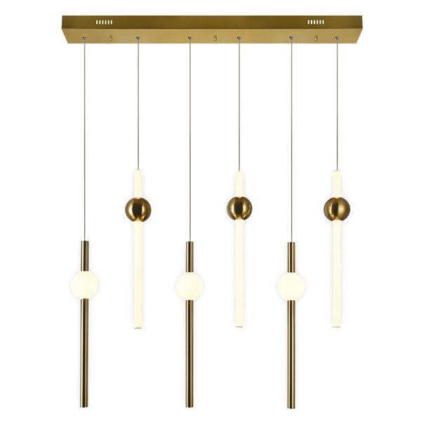 CWI Lighting Baton Contemporary LED 32-in Island/Pool Table Chandelier  -  Brass Finish