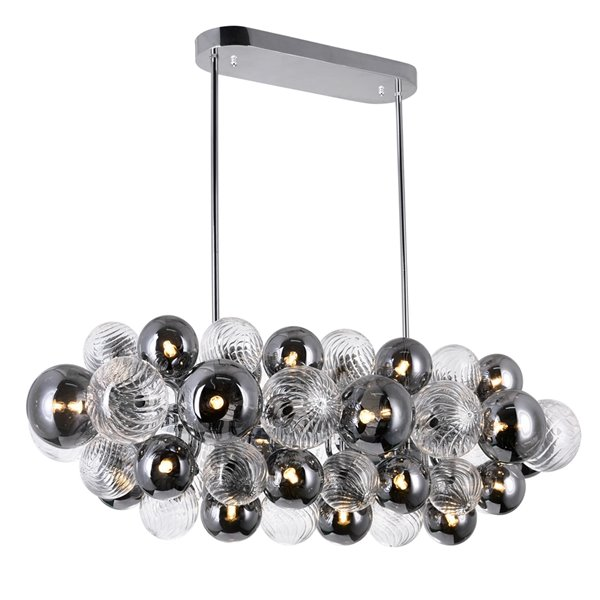 CWI Lighting  Pallocino Contemporary 27 -Light Island/Pool Table Chandelier  -  Chrome Finish