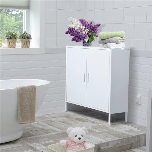 FurnitureR 2 Door Accent Cabinet Modern Metal Storage Cabinet White - 32-in x 40-in x 16-in