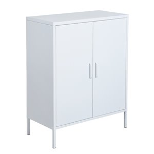 FurnitureR 2 Door Accent Cabinet Modern Metal Storage Cabinet White - 32-in x 40-in x 16-in