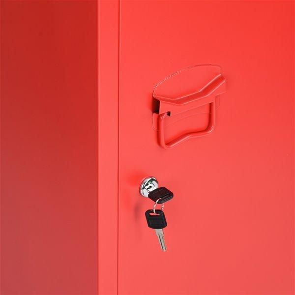 Armoire / Casier en Métal Councilbluffs, Rouge, 15 po x 54 po x 15 po