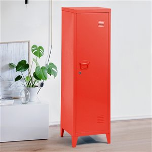 FurnitureR Height Bookcase Metal Storage Cabinet with Locker Red - 15-in x 54-in x 15-in