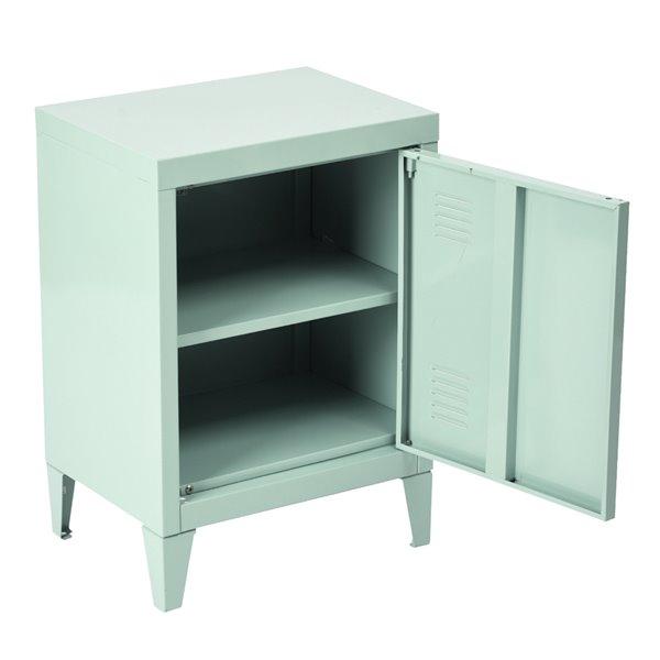 FurnitureR Cabinet en métal comme table d'appoint ou table de chevet, vert, 16 po x 12 po x 23 po