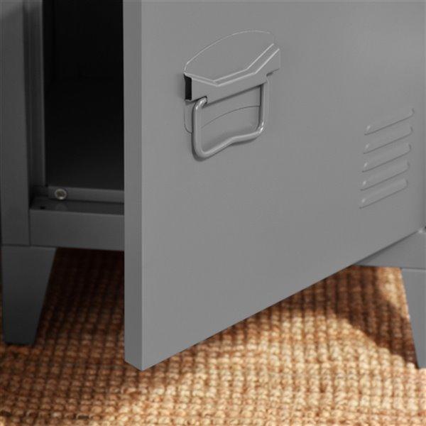 FurnitureR Armoire de rangement en métal Table de chevet Table de bout, 16 po x 12 po 23 po