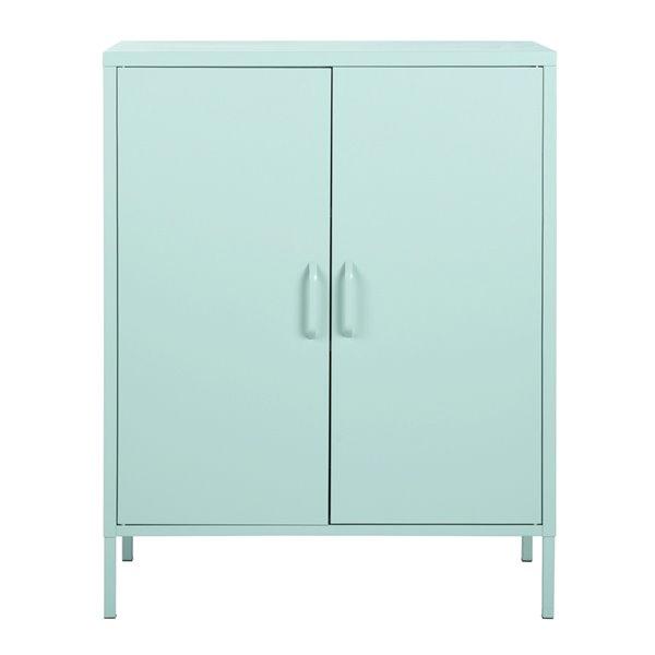 FurnitureR Armoire de rangement moderne en métal à 2 portes d'appoint, vert, 32 po x 40 po x 16 po