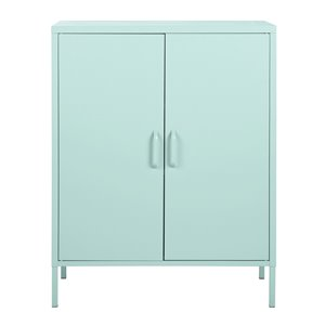 FurnitureR 2 Door Accent Cabinet Modern Metal Storage Cabinet Light Green - 32-in x 40-in x 16-in