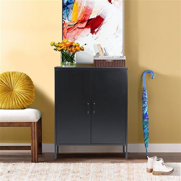 FurnitureR Armoire de rangement moderne en métal à 2 portes d'appoint, noir, 32 po x 40 po x 16 po