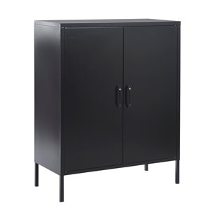 FurnitureR 2 Door Accent Cabinet Modern Metal Storage Cabinet Black - 32-in x 40-in x 16-in