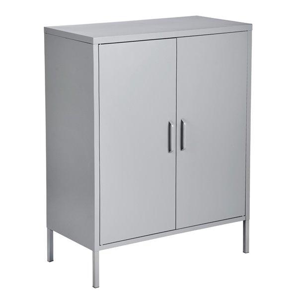 FurnitureR Armoire de rangement moderne en métal à 2 portes d'appoint, gris, 32 po x 40 po x 16 po