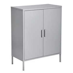 FurnitureR 2 Door Accent Cabinet Modern Metal Storage Cabinet Grey - 32-in x 40-in x 16-in