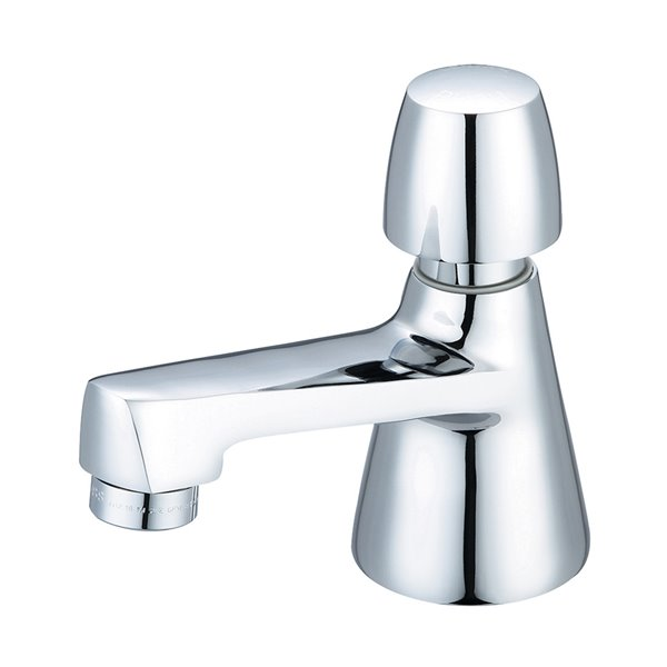 Central Brass Slow-Close Basin Faucet with Push Handle - Polished Chrome