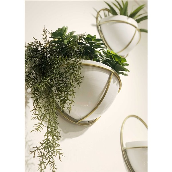 Gild Design House Adelia Metal Wall Planters - White and Gold - Set of 3