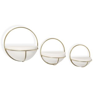 Gild Design House Adelia Metal Wall Planters - White and Gold - Set of 3
