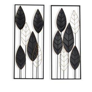 Gild Design House Savion Metal Wall Decor Leaf Pattern - Black - 14-in x 36-in - Set of 2