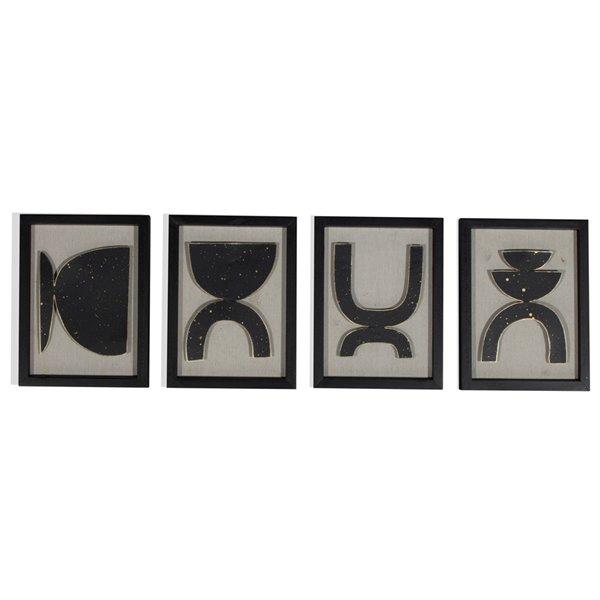 Décorations murales Joelle art abstrait avec cadre en bois, noir, 7 po x 10 po, ens. de 4