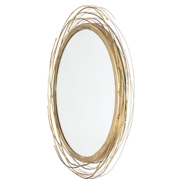 Gild Design house Dianne Metal Round Mirror - Gold - 13-in