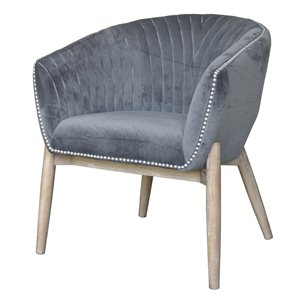 Chaise d'appoint Nadia Club de Gild Design House, velours gris et bois naturel
