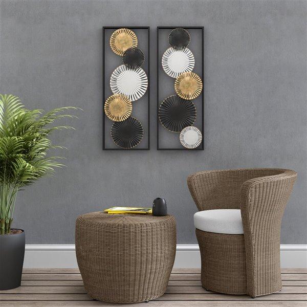 Décoration murale en métal Torin, or/noir/blanc, 13.5 po x 1.5 po x 35.5 po, ens. de 2