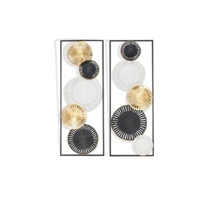 Gild Design House Torin Metal Wall Decor - Gold/Black/White - 13.5-in x 1.5-in x 35.5-in - Set of 2