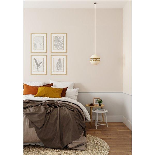 Luminaire suspendu Thea contemporain, blanc et or, 10 po x 12 po x 60 po