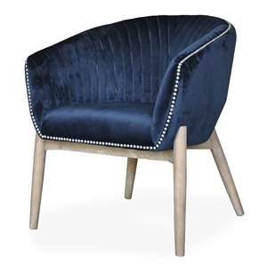Gild Design House Nadia Club Chair - Blue velvet and Wood