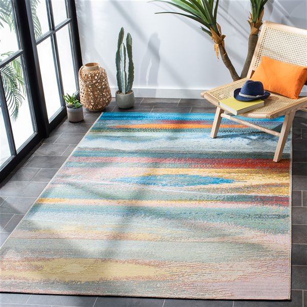 Safavieh BAR585M-6 Barbados Area Rug - 6-ft 6-in x 9-ft 4-in - Light Blue / Pink