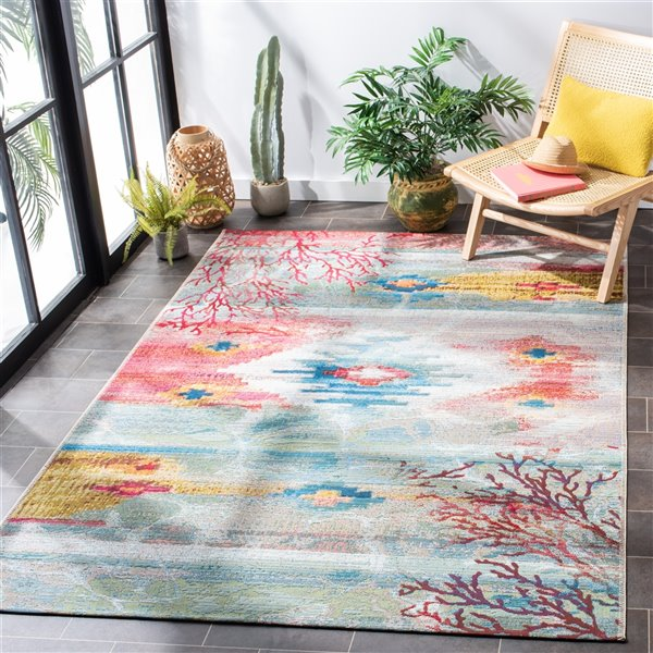 Safavieh BAR554M-6 Barbados Area Rug - 6-ft 6-in x 9-ft 4-in - Light Blue / Pink