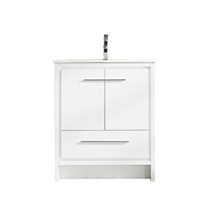 GEF Abbey Vanity with 2-Door/1-Drawer - Ceramic Top - White - 30-in